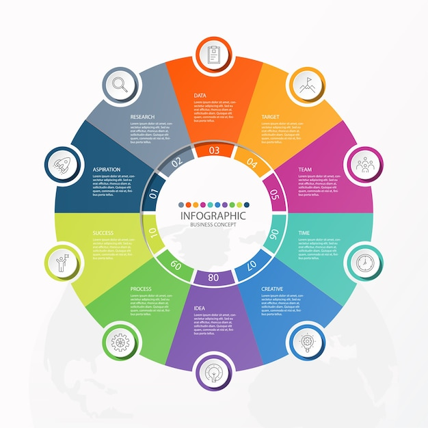 Infographics 10 element of circles and basic colors for present business concept. abstract elements , options, parts or processes. Premium Vector