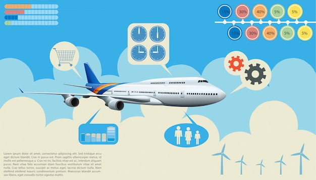 Infographics of the airplane Free Vector