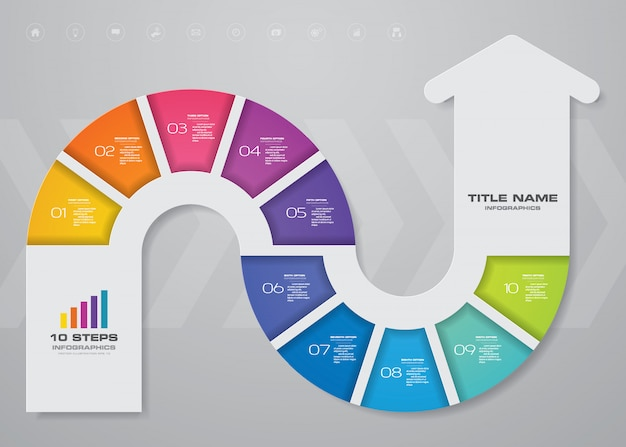 Infographics arrow chart element. Premium Vector