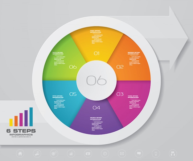 Infographics arrow and pie chart design element. Premium Vector