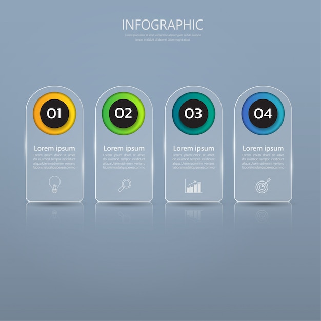 Infographics banner template in glass or glossy style Premium Vector