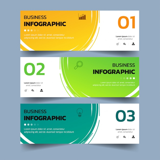 Infographics banners with watercolors splash. Premium Vector