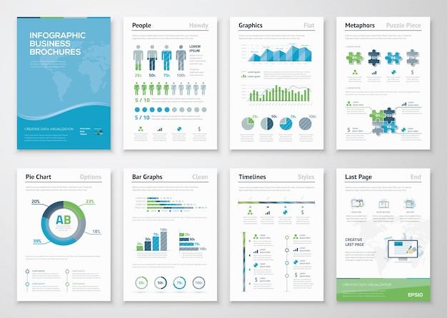Infographics brochure elements for business data visualization Premium Vector