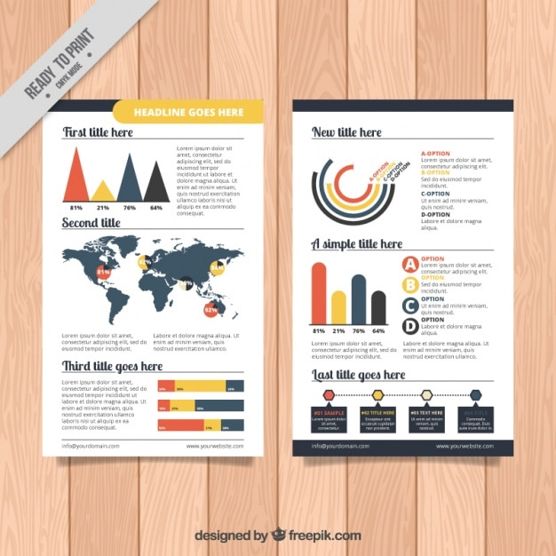 Infographics on a brochure Free Vector