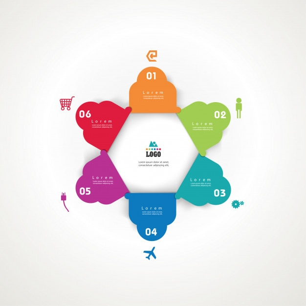 Infographics  business concept with 6 options. Premium Vector