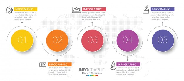 Infographics for business concept with icons and steps. Premium Vector