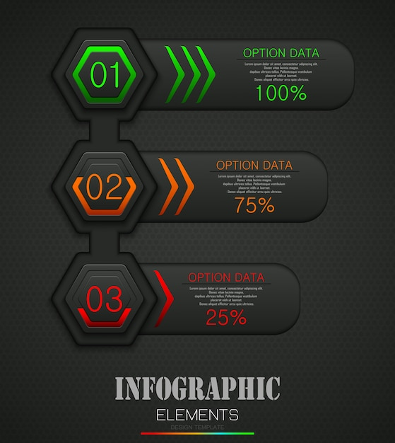 Infographics business template concept with 3 options Premium Vector