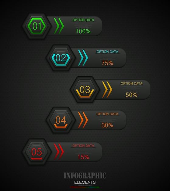 5つのオプションを持つインフォグラフィックビジネステンプレートの概念 Premiumベクター