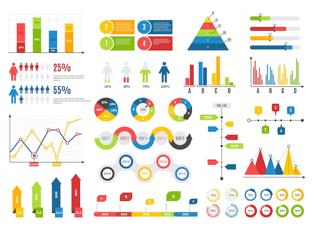 Infographics chart set. charts result graphs icons statistics financial data diagrams. isolated analysis elements Premium Vector