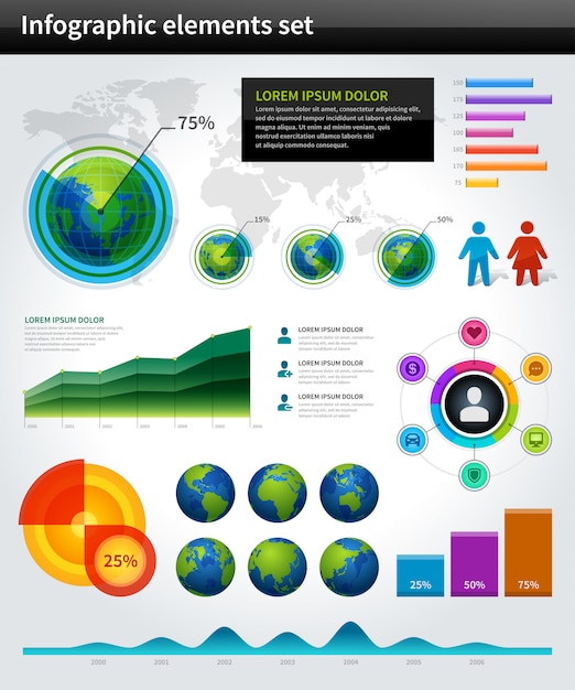 Infographics collection vector graph and charts design elements and data visualization icons set. Premium Vector