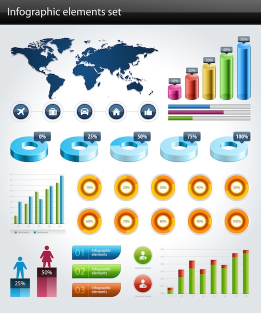 Infographics collection vector graph and charts design elements Premium Vector