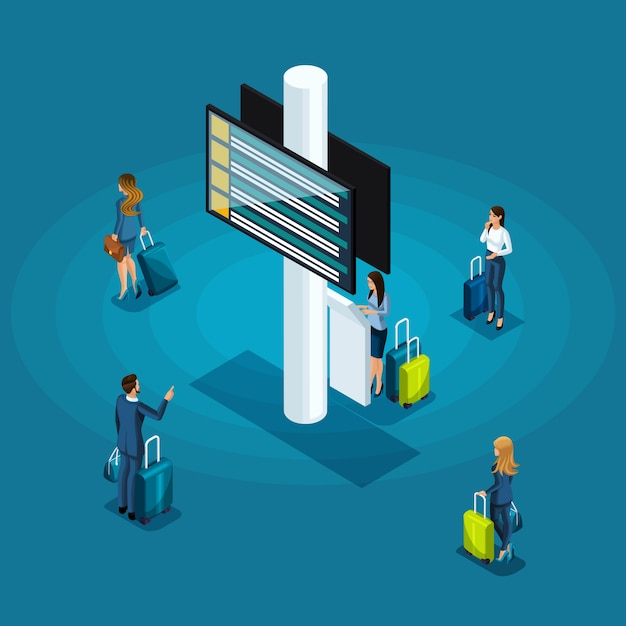 Infographics concept of the waiting room of an international airport, business ladies and businessmen on a business trip Premium Vector