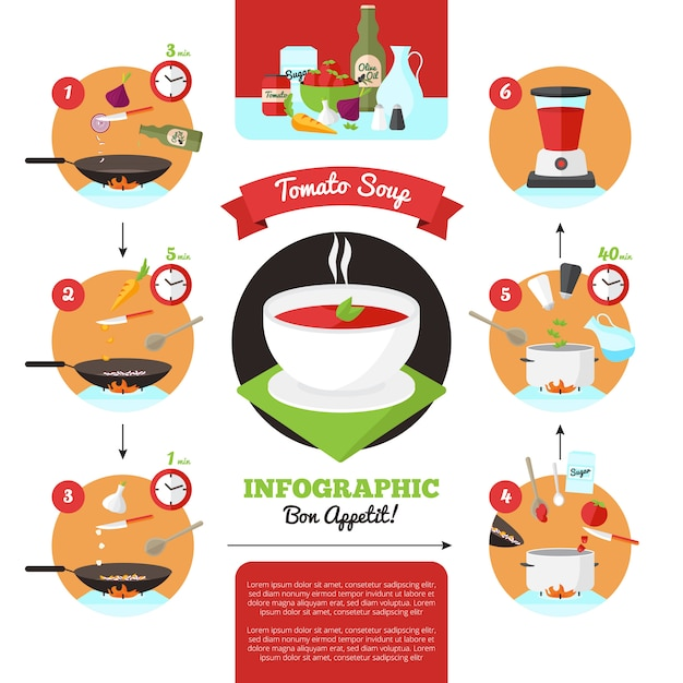 Infographics of cooking instructions Free Vector
