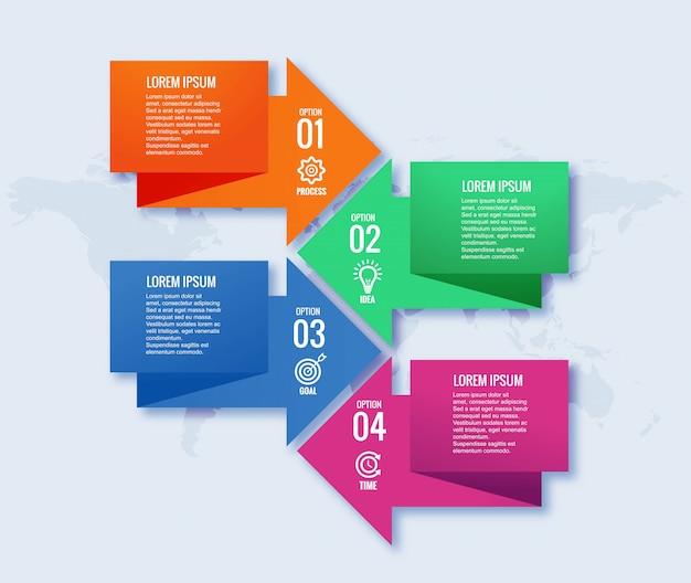 4 단계 인포 그래픽 디자인 템플릿 창조적 인 개념 무료 벡터