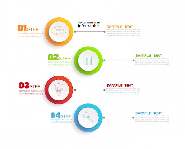 Infographics design template with 4 steps Premium Vector