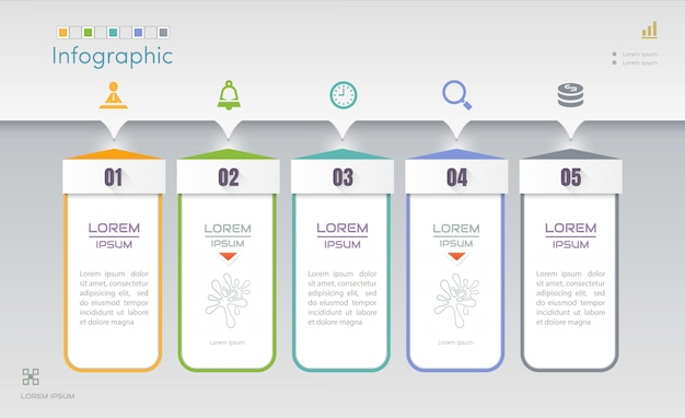 Infographics design template with five steps Premium Vector