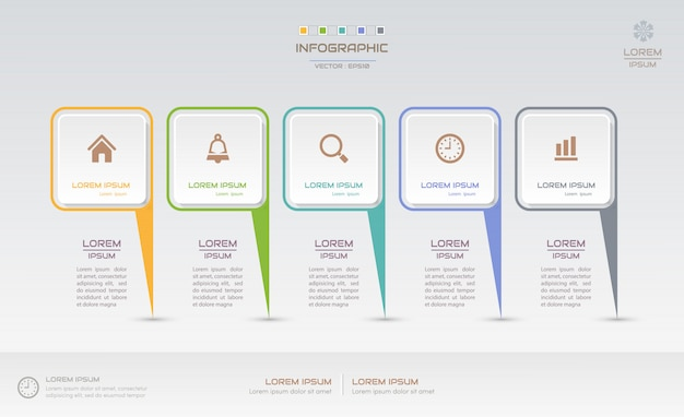 Infographics design template with icons Premium Vector
