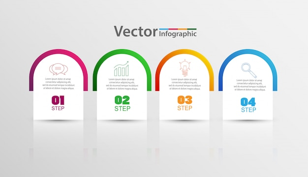 Infographics design templatet with 4 steps or options Premium Vector