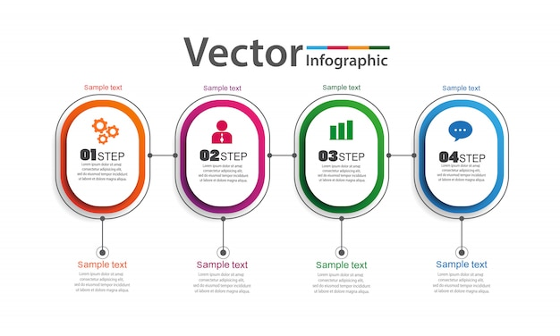Infographics design vector with 4 options, steps or processes Premium Vector