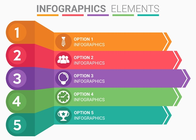 Infographics element abstract the number top five list template Premium Vector