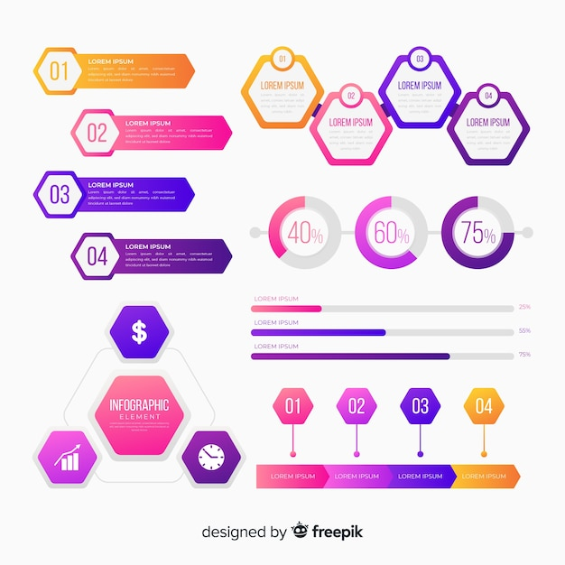Infographics element collectio Free Vector