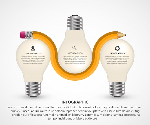 Infographics elements  with pencil and light bulb Premium Vector