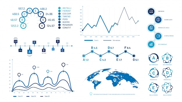 Infographics graph charts. histogram data graphs, bubbles graphic timeline chart and diagram  illustration set Premium Vector
