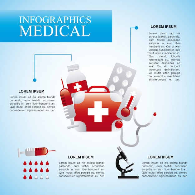 Infographics medical  over blue background vector illustration Premium Vector