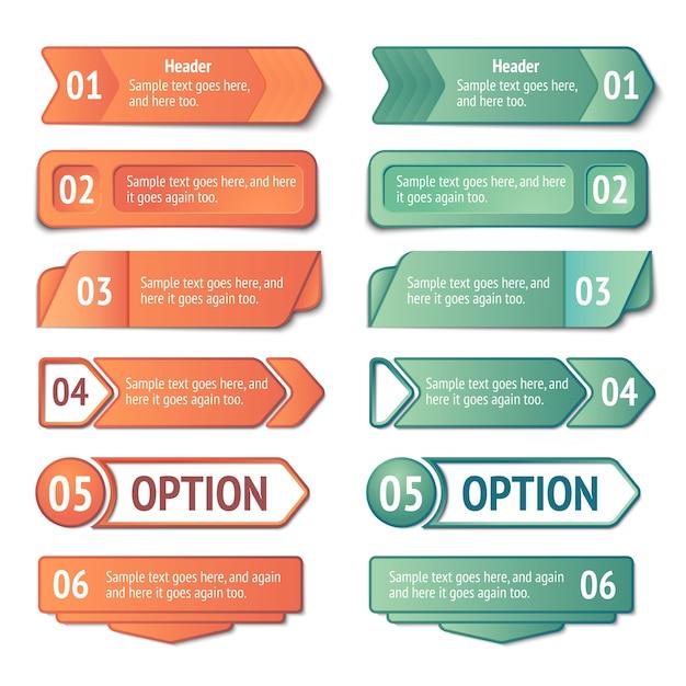 Set di banner di opzioni e titoli di infografica Vettore gratuito