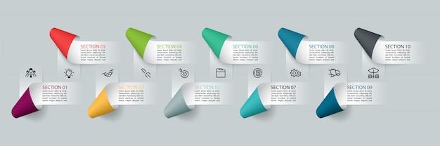 Infographics paper ribbon labels, infographic options processes. Premium Vector