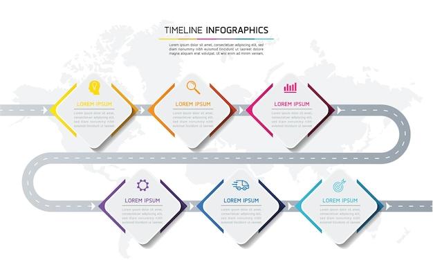 Инфографика. презентация и диаграмма. шаги или процессы. количество вариантов рабочего процесса, шаблон дизайна, 6 шагов. Premium векторы