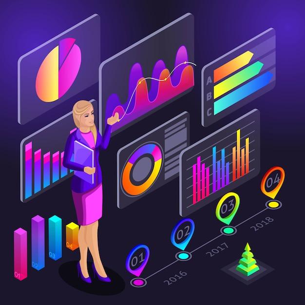 インフォグラフィックs、女の子はトレーニングプログラム、グラフ、分析、分析のレポートのためのホログラフィック図を示すトレーニングを実施します Premiumベクター