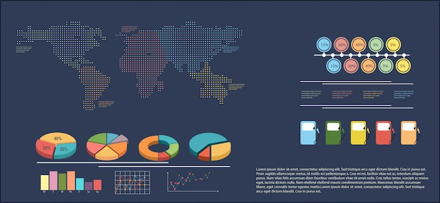 An infographics showing a map Free Vector