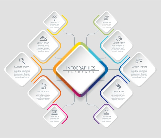 Infographics. steps or processes.  options number workflow template design. 10 steps. Premium Vector