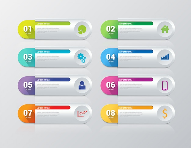 Infographics steps vector template. 8 items. Free Vector