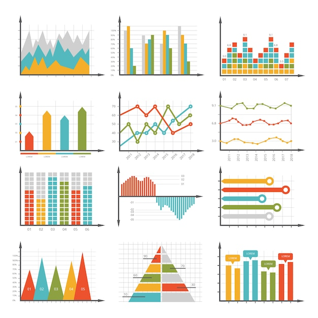 Infographics symbols. business graphs and diagrams set Premium Vector