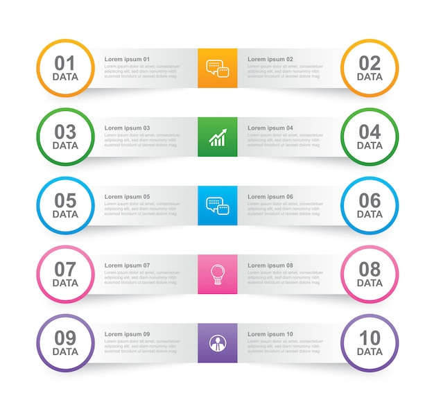 Infographics tab in horizontal paper index with 10 data template. Premium Vector