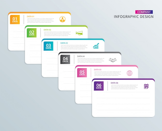 Infographics tab paper index with 6 data template. Premium Vector