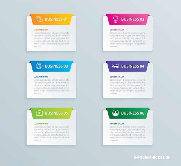 Infographics tab paper index with 6 data template Premium Vector