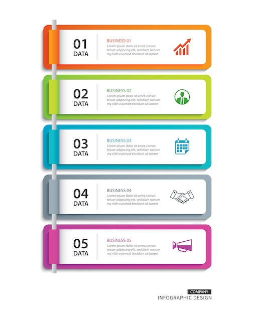 Infographics tab paper index Premium Vector