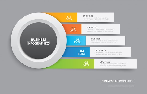 Infographics tab template in horizontal paper index with 5 data template. Premium Vector
