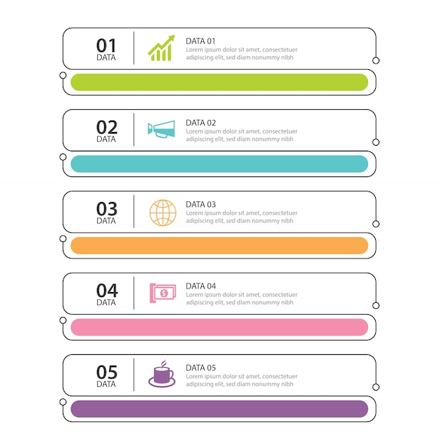 Infographics tab thin line index with 5 data template Premium Vector