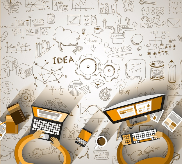 Infographics teamwork with business doodles sketch Premium Vector