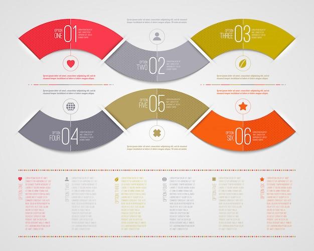 인포 그래픽 템플릿-추상 번호 색 종이 파도 모양 프리미엄 벡터