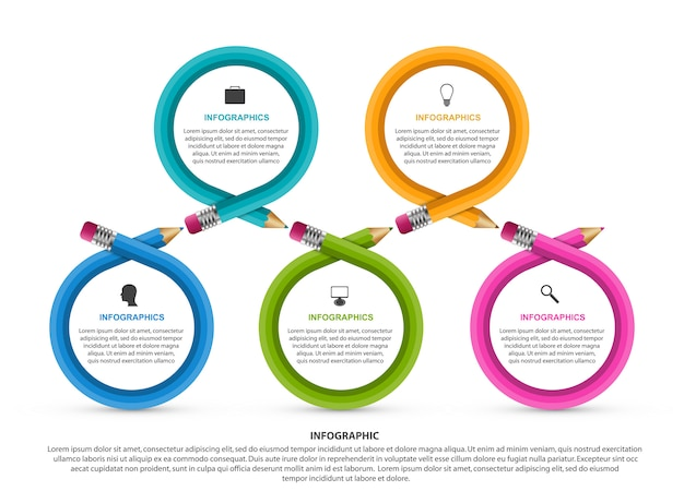 Infographics template for education. Premium Vector