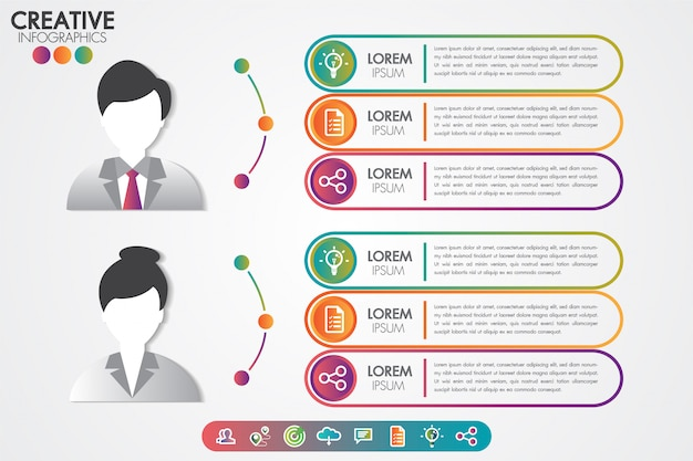 Infographics template man and woman symbol avatar with icons set. Premium Vector