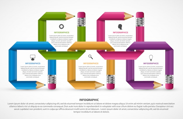 Infographics template. pencil with colored ribbons. Premium Vector