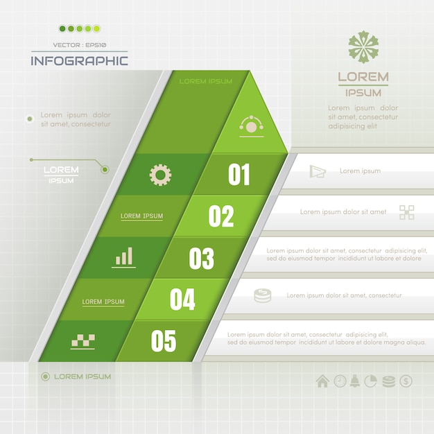 Infographics template with business icons Premium Vector