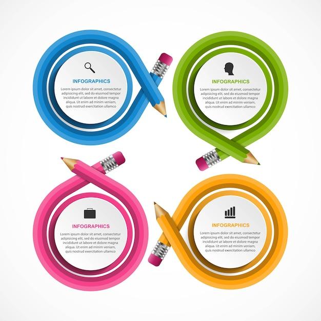 色鉛筆のインフォグラフィックテンプレートインフォグラフィック Premiumベクター