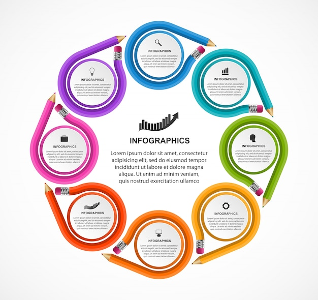 Infographics template with colored pencil. Premium Vector